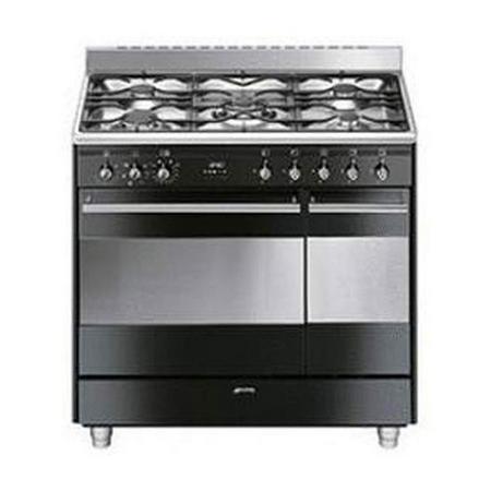 90Cm Gloss Black Dual Cavity Dual Fuel Cooker
