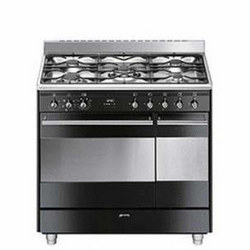 90Cm Gloss Black Dual Cavity Dual Fuel Cooker