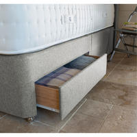 BWC Two Drawer Divan Set With Medium Tension Double Mattress Silver