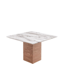 Byblos Square Dining Table White Cararra Marble+Ash BYB6233