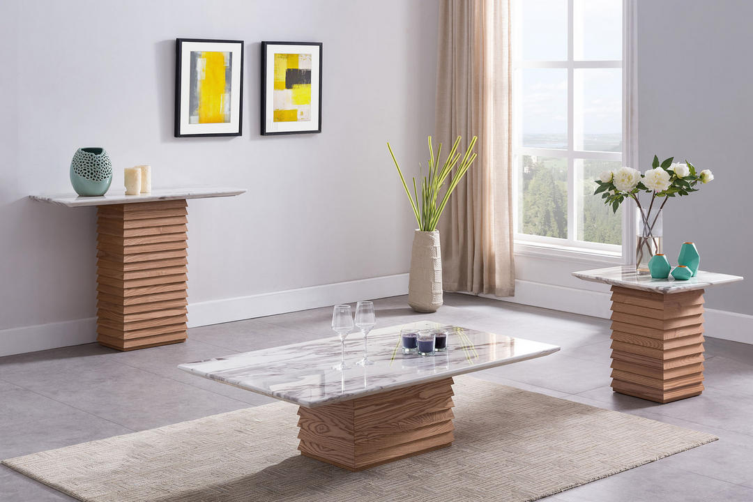 Byblos Console Table White Cararra Marble+Ash BYB6235
