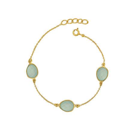 Gold Boho Around The World Bracelet With Aqua Chalcedony