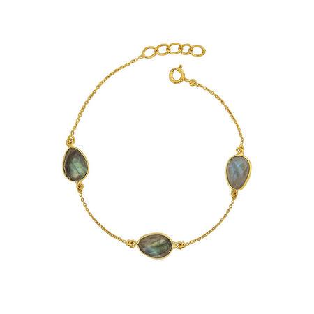 Gold Boho Around The World Bracelet With Labradorite