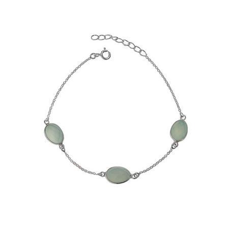 Silver Boho Around The World Bracelet With Aqua Chalcedony