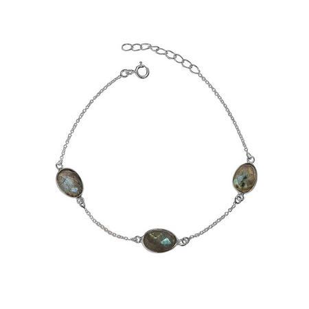 Silver Boho Around The World Bracelet With Labradorite
