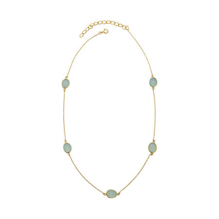Gold Boho Around The World Necklace With Aqua Chalcedony