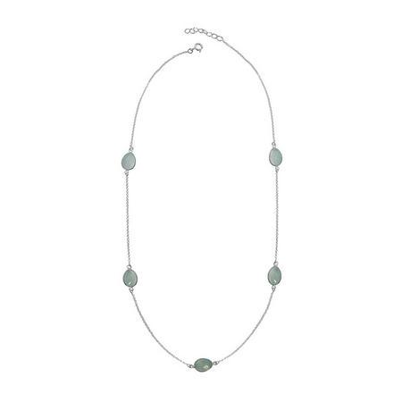 Silver Boho Around The World Necklace With Aqua Chalcedony