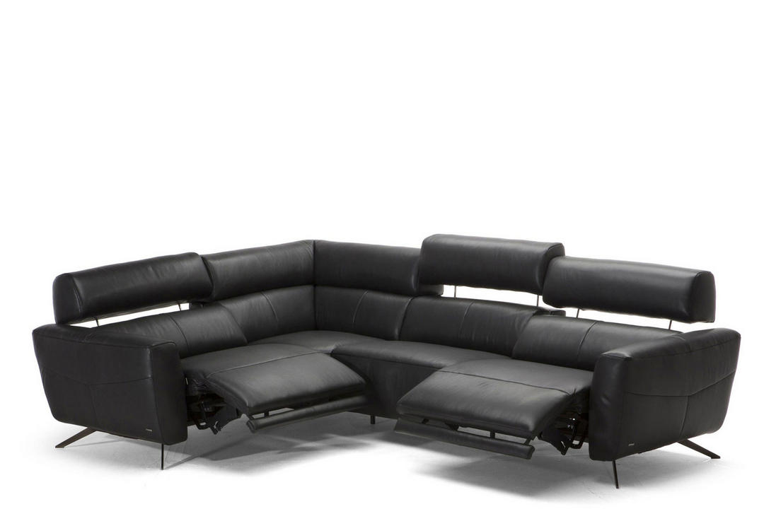 C013 Sorpresa Leather Corner Group With Recliners LHF 10BU Black