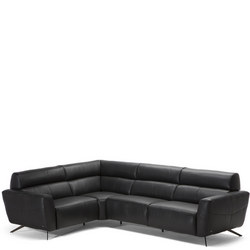C013 Sorpresa Small Leather Corner Group With Recliners LHF 10BU Black