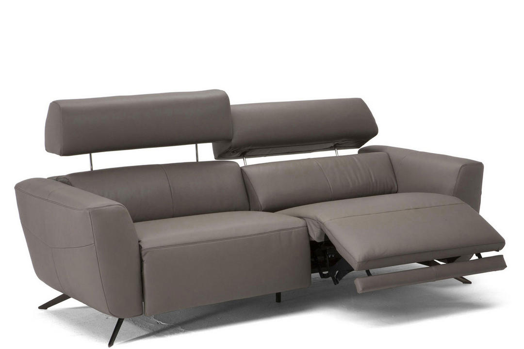 C013 Sorpresa Leather Split Sofa With Recliners 15D1 Grey