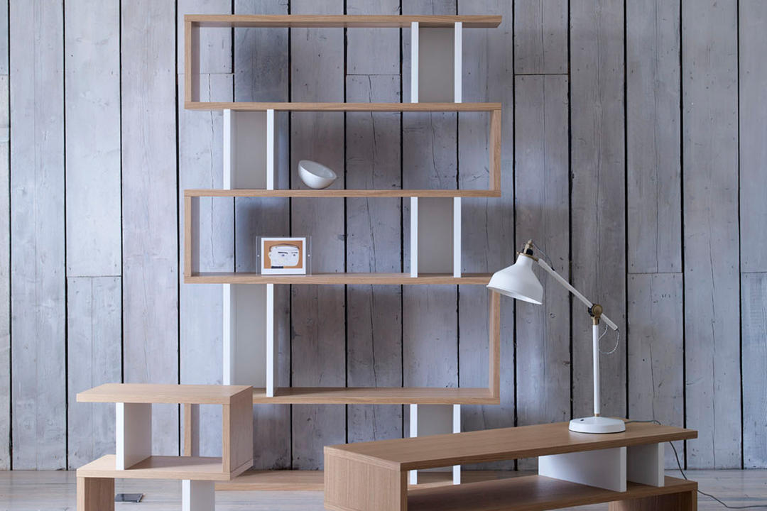 Counter Balance Tall Shelving Oak/White