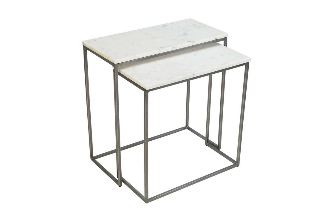 Chelsea Nest of Two Rectangular Side Tables Marble Finish
