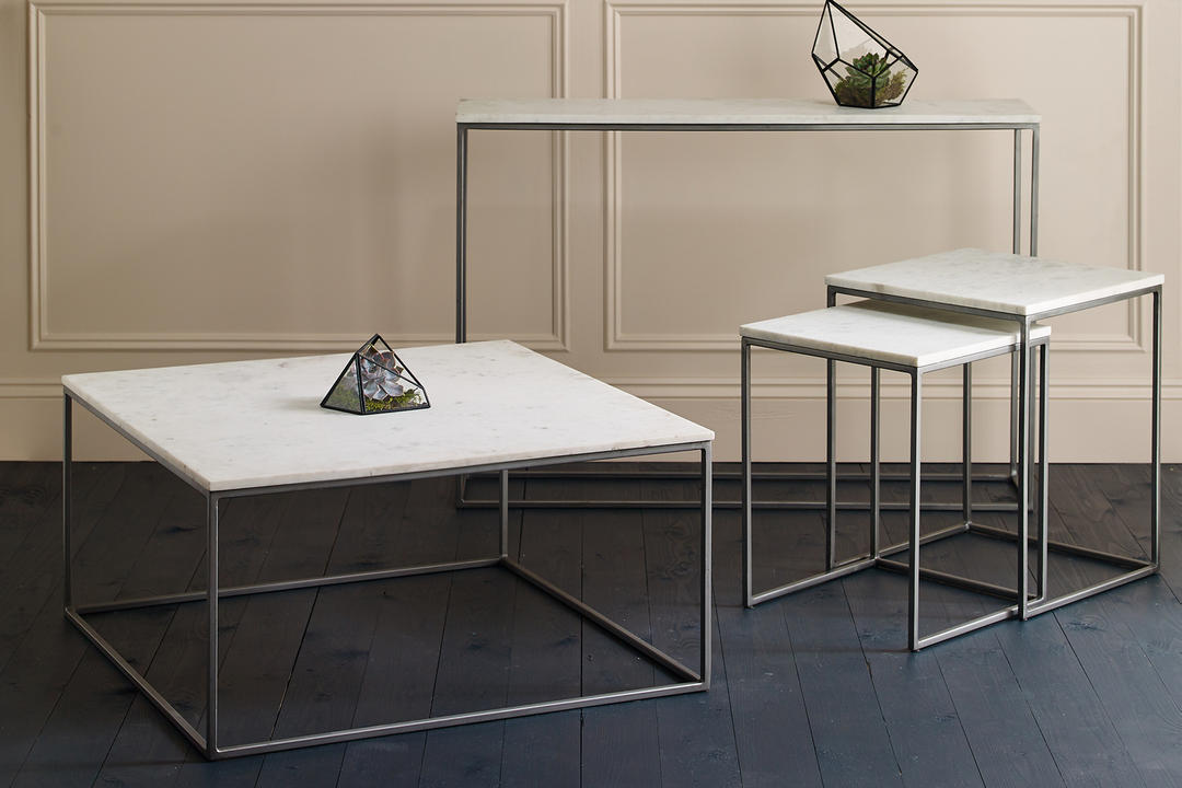 Chelsea Nest Of Two Square Side Tables Marble Finish