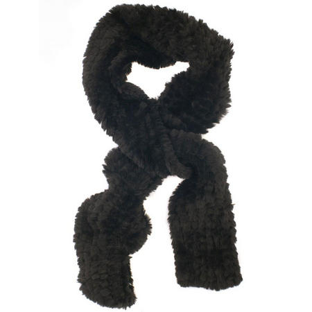Black Fur Knitted Scarf