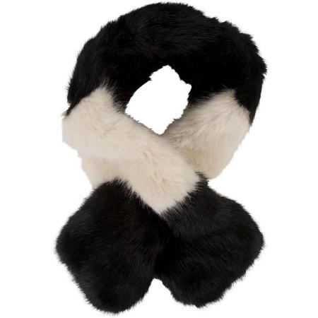 Black/Almond Colour Block Slot Through Fur Scarf