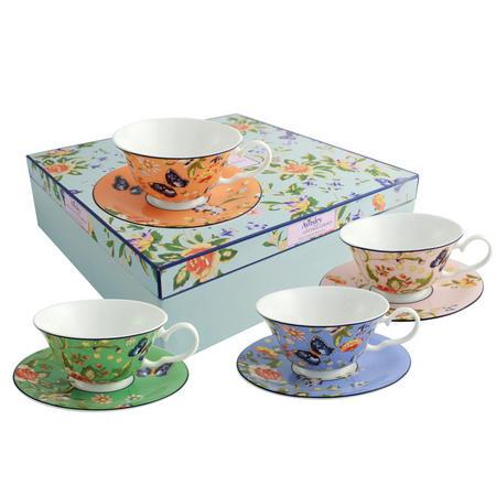 Windsor Cottage Garden Set of 4 Teacups & Saucers