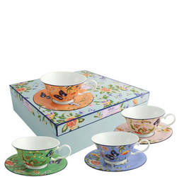 Windsor Cottage Garden Set of 4 Teacups & Saucers