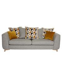Copenhagen Four-Seater Pillow Back Grand Sofa Silver