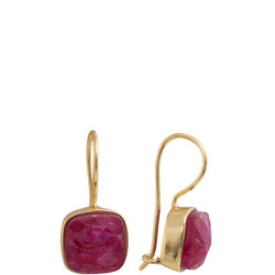Gold Antibes Faceted Square Earrings With Ruby