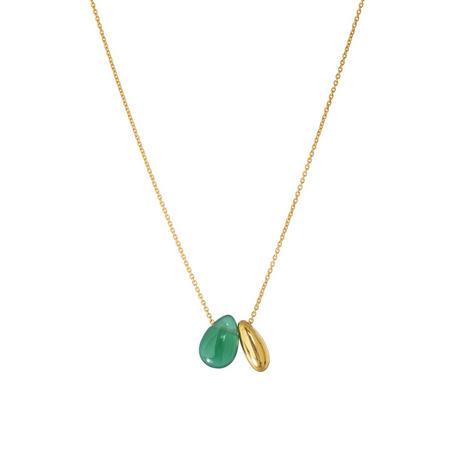 Gold Boho Little Bean Pendant With Green Onyx