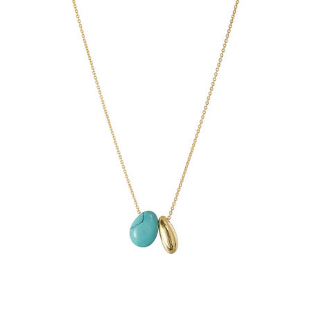 Gold Boho Little Bean Pendant With Turquoise