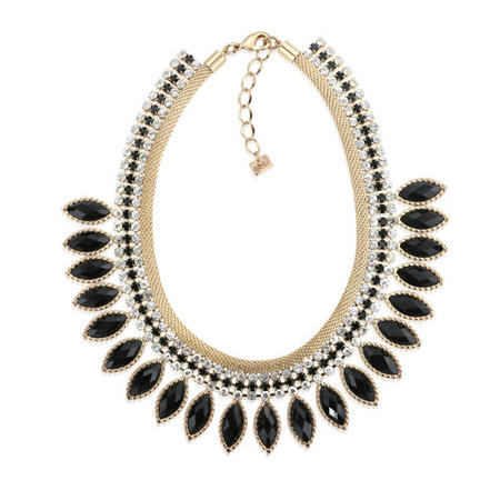 Gold Tone Necklace Blk Stones