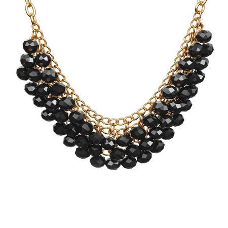 Gold Tone Necklace Black Stones