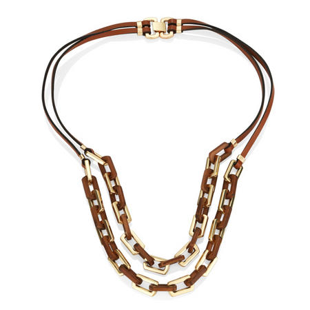 Gold Tone Link Chain And Leather Nl