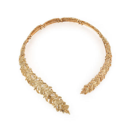 Gold Tone Leaf Collar Clear Stones