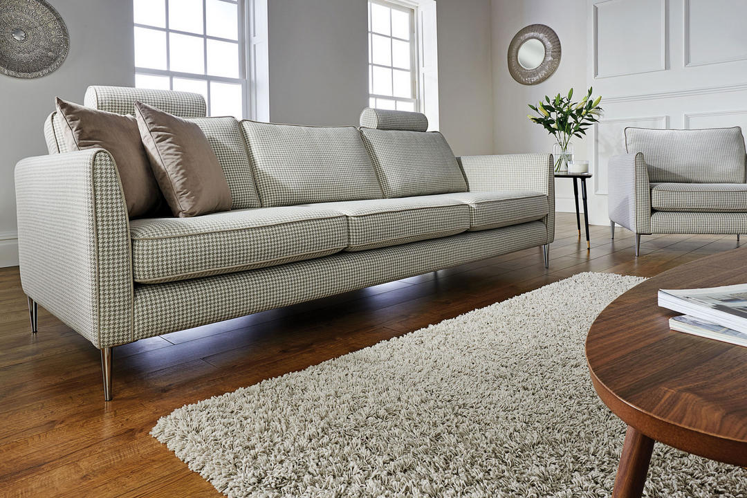Enzo Three Cushion Sofa with Two Headrests Vegas Natural Ivory