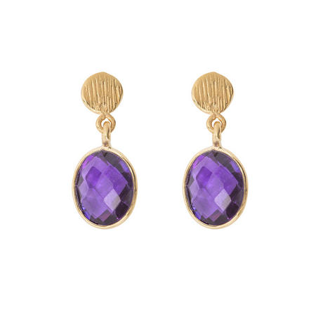 Gold Antibes Earrings With Amethyst