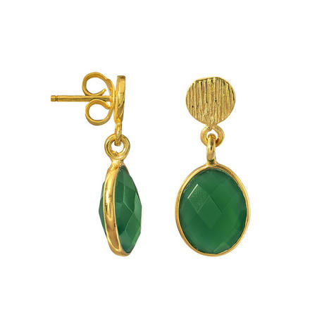 Gold Antibes Earrings With Green Onyx