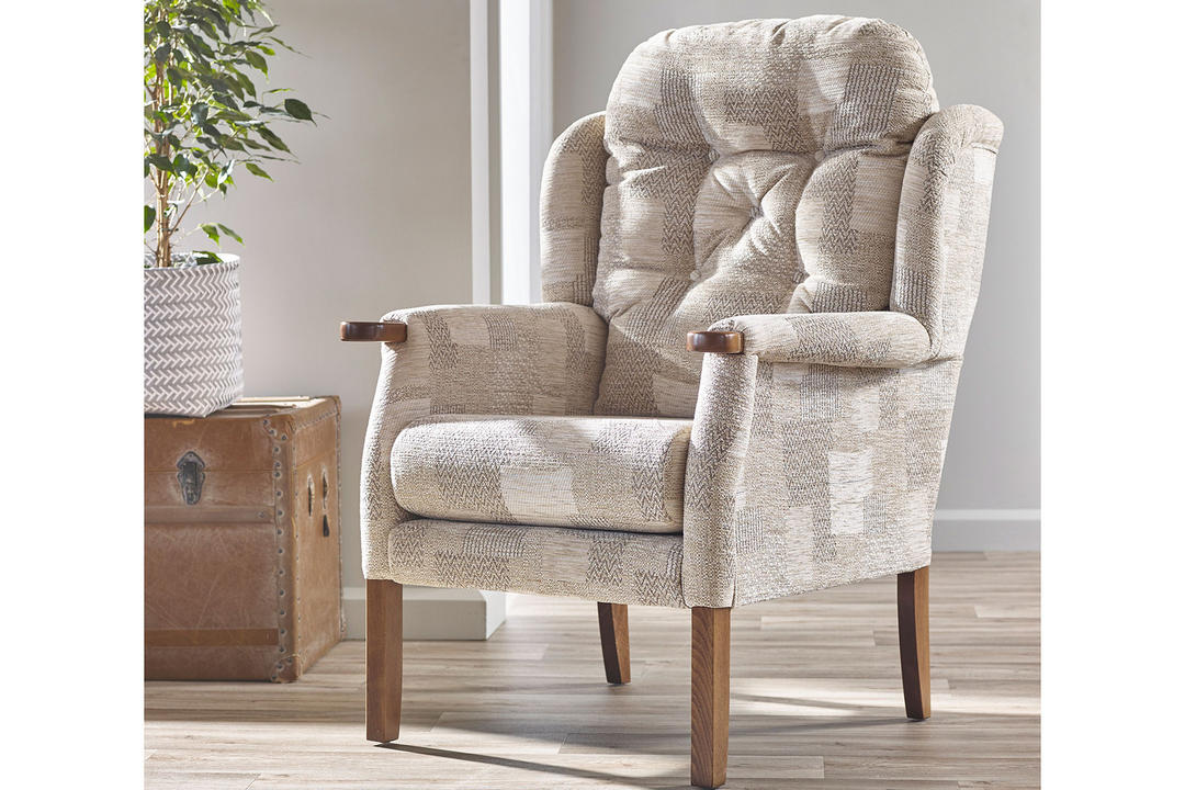 Eton Wing Chair, Oatmeal Patchwork