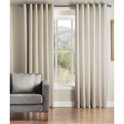 Rib Plain Curtains White