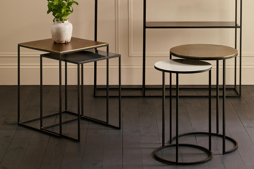 Fera Duo Of Round Side Tables Cast/Pebble