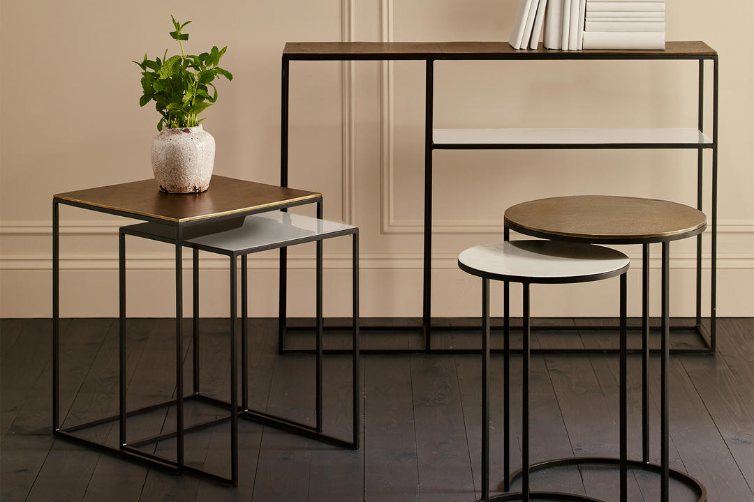 Fera Nest Of Two Square Side Tables Cast/Pebble