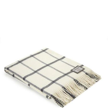 Classic White Windowpane Throw White/Grey