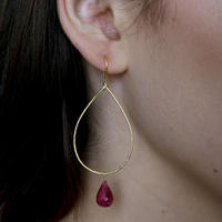 Gold Boho Sway Me Earrings With Ruby