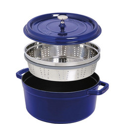Round Cocotte 26 Cm With Steamer Dark Blue