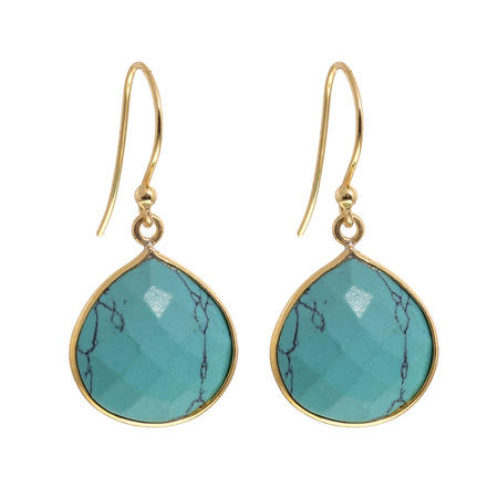 Gold Boho Drop Earrings With Turquoise