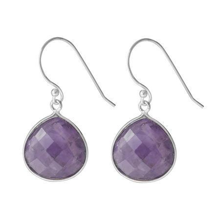 Silver Boho Drop Earrings With Amethyst