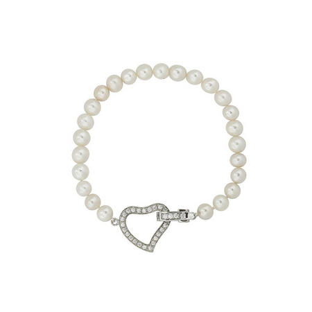 Silver Button Pearl Crystal Heart Clasp Bracelet
