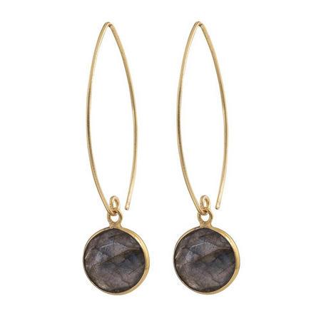 Gold Boho Hook Earrings With Labradorite