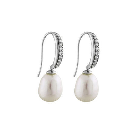 Silver Pearl Crystal Drop Earrings