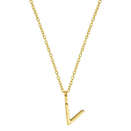 Gold V Initial Pendant