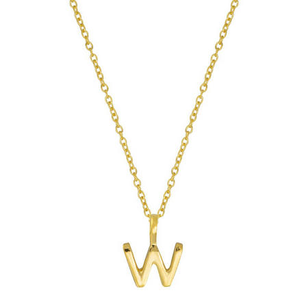 Gold W Initial Pendant