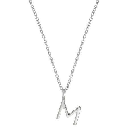 Silver M Initial Pendant