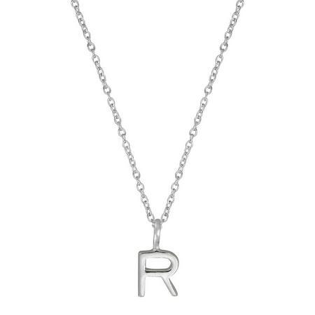 Silver R Initial Pendant