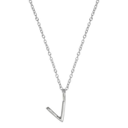 Silver V Initial Pendant