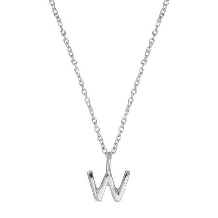 Silver W Initial Pendant